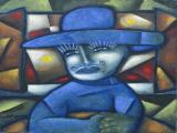Man in Blue Hat 2001 30x26 oil on linen