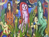 The Three Temptresses 2005 40x90 oil on linen